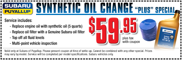 Subaru synthetic oil change plus service special offer in Puyallup, WA