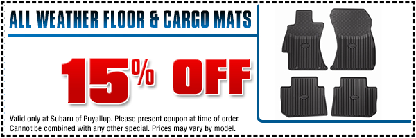 Save on a genuine Subaru all-weather mat set - floor or cargo - in Puyallup, WA