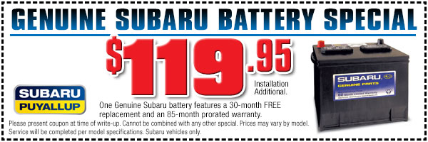 Subaru Battery Parts Special Puyallup, WA