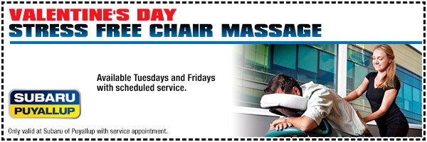 Valentine's Day Stress-Free Chair Massage With Scheduled Service Special Puyallup, WA