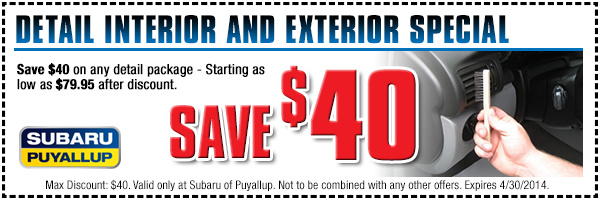 Save On Any Vehicle Detail Service Package at Subaru of Puyallup Near Tacoma And Lakewood, Washington