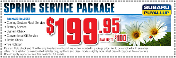 Subaru Spring Special Service Savings Coupon Special Puyallup, WA
