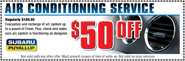Discount on Subaru Air Conditioning Service From Subaru of Puyallup, Serving Olympia, Washington