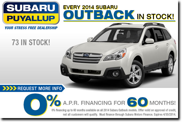 New 2015 subaru outback special discount offers puyallup for Subaru motors finance address