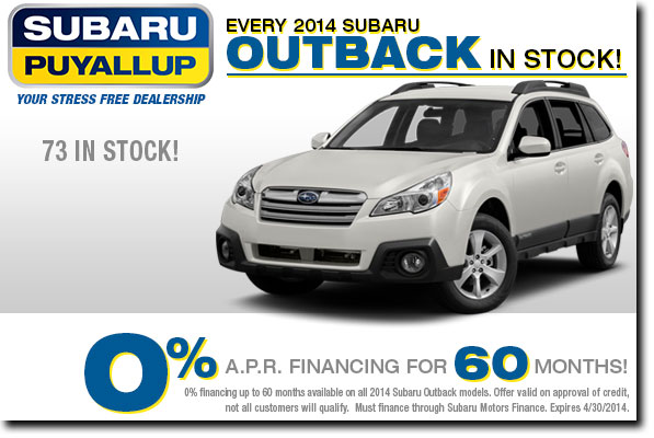 New 2014 Subaru Outback 0% Finance Special Discount Offer serving Puyallup, WA