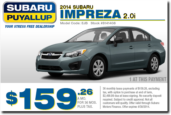 New 2014 Subaru Impreza 2.0i Special Low Payment Lease Offer serving Puyallup & Tacoma, WA