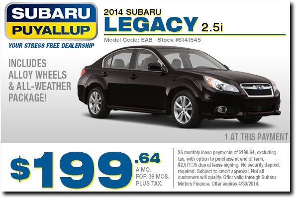 New 2014 Subaru Legacy Premium Lease Low Payment Special Offer serving Tacoma, WA