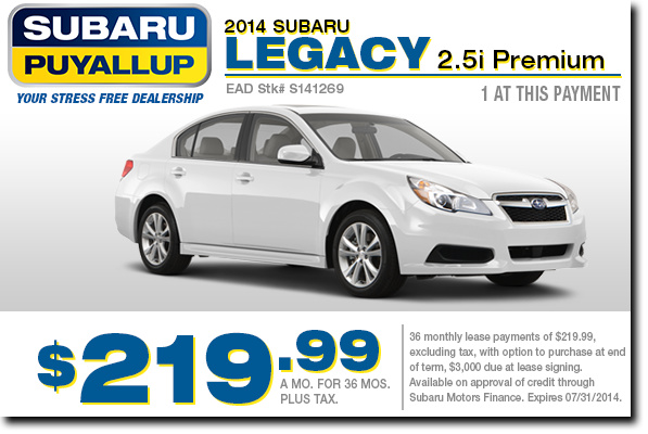 Lease a new 2014 Subaru Legacy at a low monthly payment from Subaru of Puyallup serving Tacoma, WA