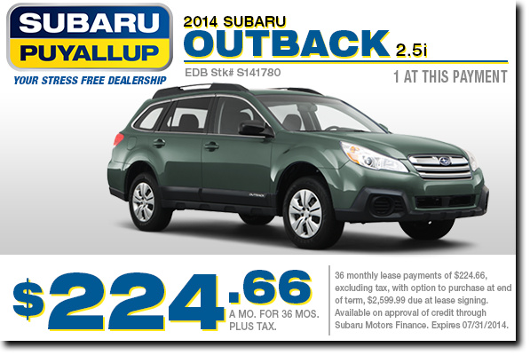 Lease a new 2014 Subaru Outback at a low monthly payment from Subaru of Puyallup serving Tacoma, WA