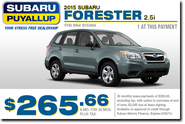 2015 Subaru Forester 2.5i Lease Special serving Lakewood & Puyallup, WA