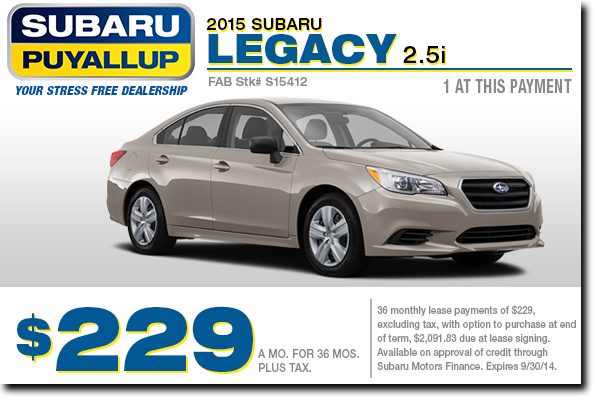 2015 Subaru Legacy 2.5i Special Lease Offer serving Auburn & Puyallup, WA