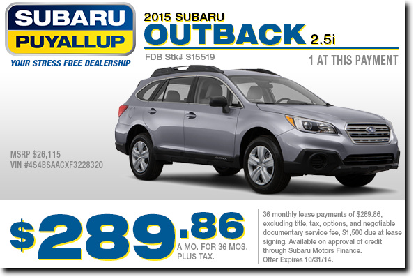 2015 Subaru Outback 2.5i Lease Special serving Kent & Puyallup, WA