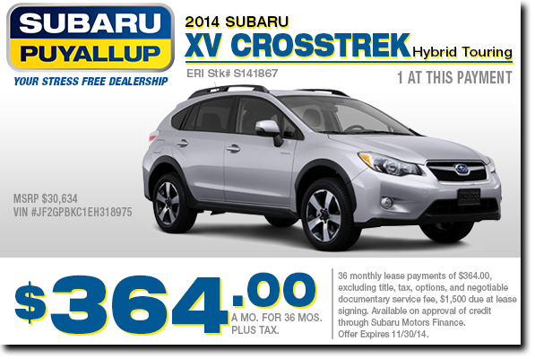 Puyallup New 2014 Subaru XV Crosstrek Lease Special Offer serving Tacoma & Auburn, WA