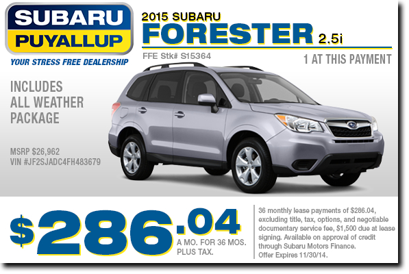 New 2015 Subaru Forester Lease Special Offer serving Tacoma & Auburn, WA
