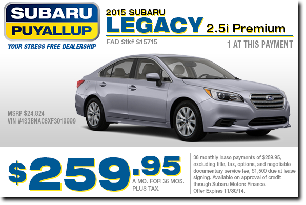 Puyallup New 2015 Subaru Legacy 2.5i Premium Lease Special Offer serving Tacoma & Auburn, WA