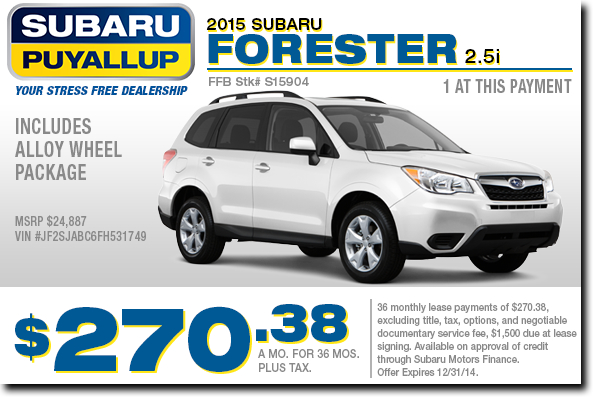 New 2015 Subaru Forester Lease Special Offer serving Tacoma& Auburn, WA