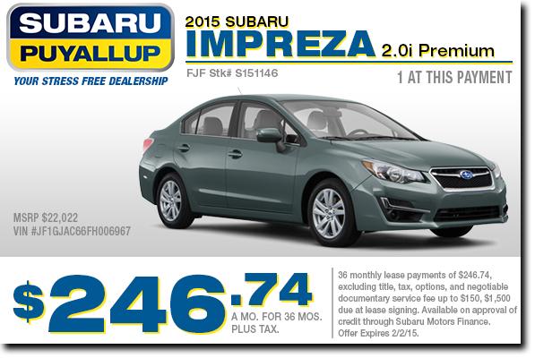 New 2015 Subaru Impreza 2.0i Premium Lease Special in Puyallup, WA
