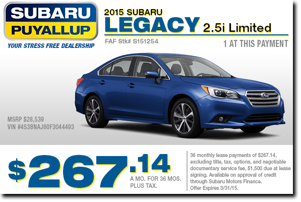 2015 Subaru Legacy Lease Special Serving Seattle, WA