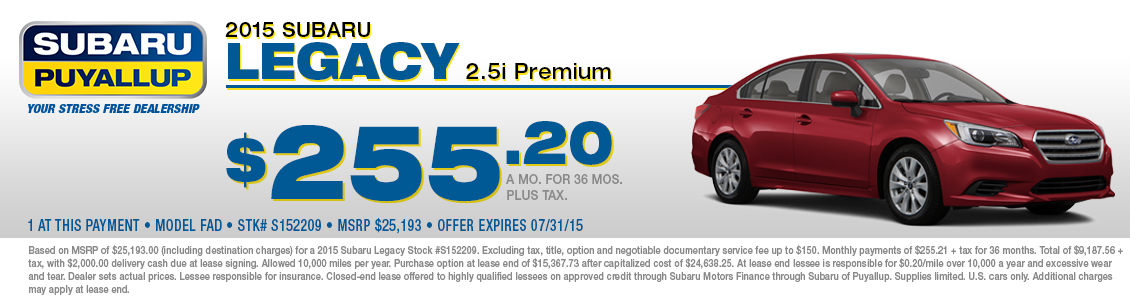 2015 Subaru Legacy Lease Special in Puyallup, WA