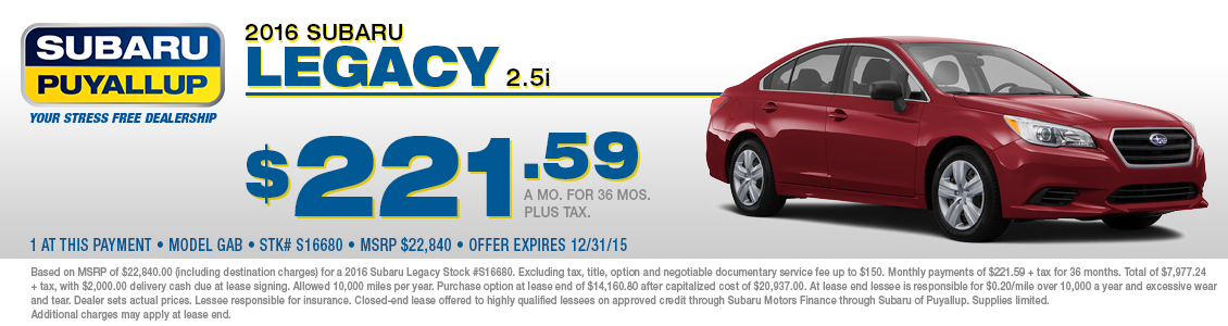 New 2016 Legacy Special Lease Offer at Subaru of Puyallup