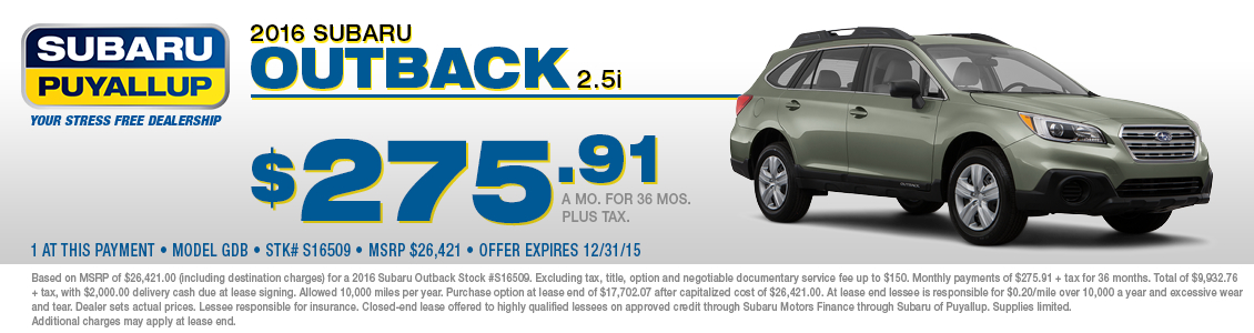 Special 2016 Subaru Outback Lease Offer at Subaru of Puyallup