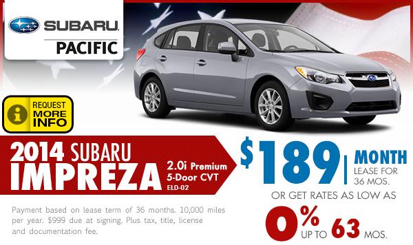 2014 subaru impreza lease finance specials torrance for Subaru motors finance payments