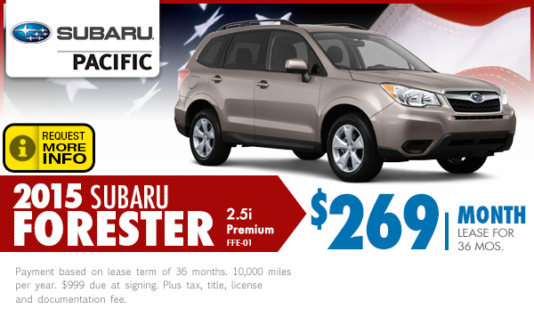 2015 subaru forester lease specials subaru pacific for Subaru motors finance payments
