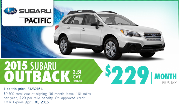 2015 Subaru Outback Low Payment Lease Special Serving Carson, CA
