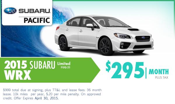 2015 Subaru WRX Limited Lease Special Serving Manhattan Beach, CA