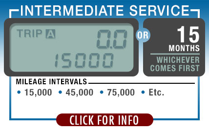 Subaru Recommended Intermediate Service| Every 15,000 Miles or 15 Months