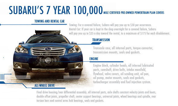 Temecula Subaru CPO 7 year 100,000 Mile Certified Pre-owned Powertrain Coverage