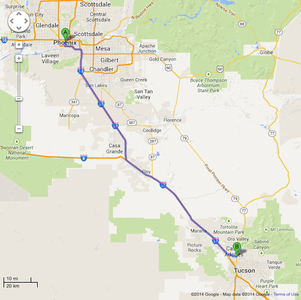 Directions From Phoenix Az To Tucson Subaru