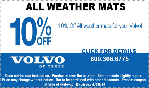 Volvo All-Weather Floor Mats Parts Coupon Special Tempe, AZ