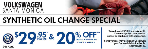 Special Synthetic Oil Change Service Savings at Volkswagen Santa Monica