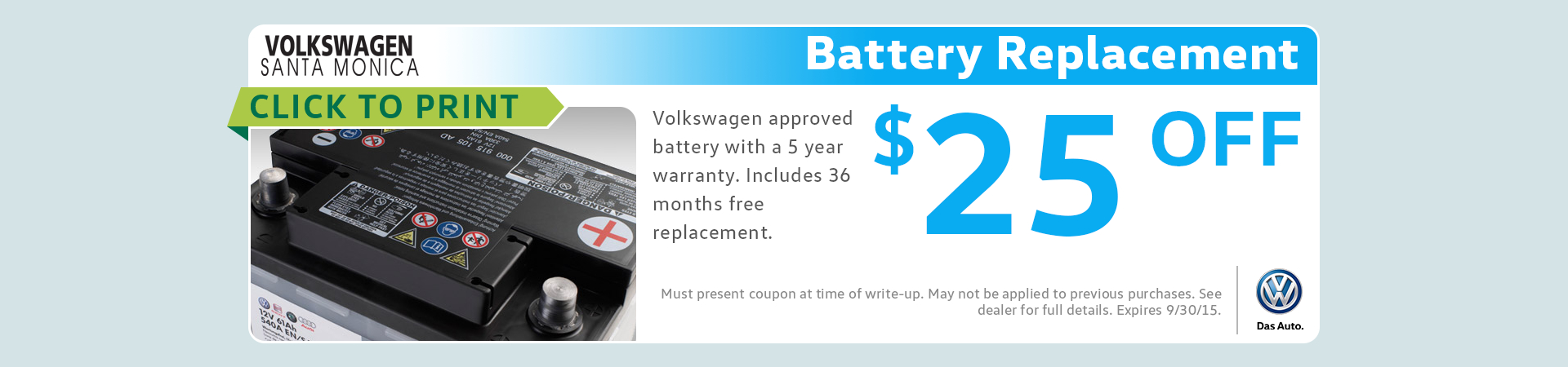 Genuine VW Battery Replacement Service Special serving Santa Monica, CA