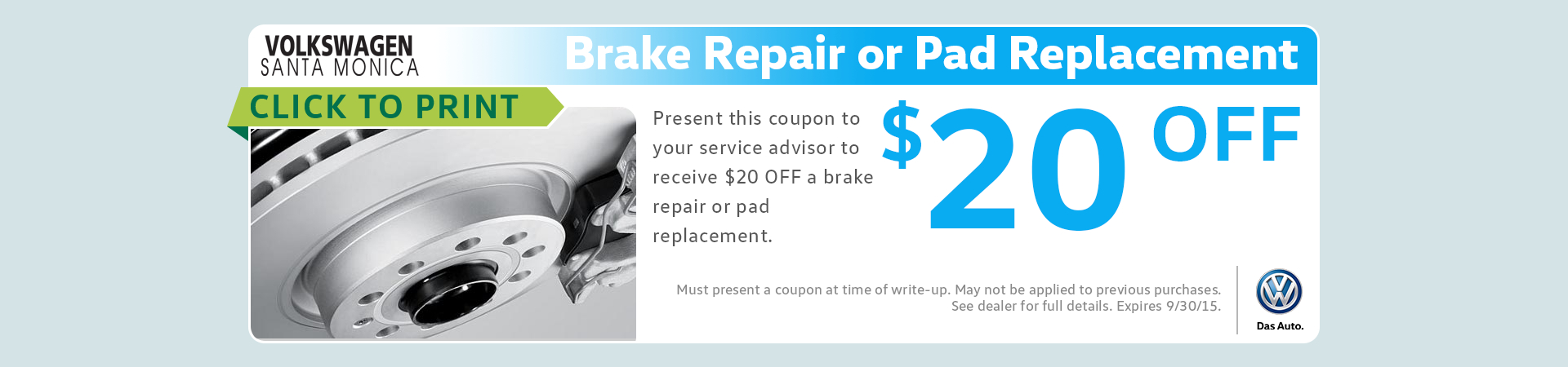 Genuine VW Brake Pad Replacement Service Special serving Santa Monica, CA