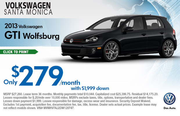 new 2013 volkswagen gti wolfsburg lease special serving beverly hills los angeles california. Black Bedroom Furniture Sets. Home Design Ideas