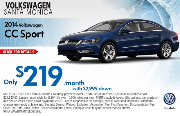 volkswagen lease specials santa monica los angeles  car discounts