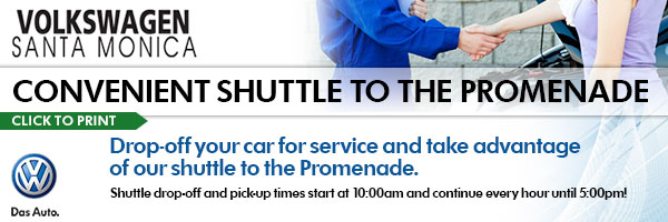 Volkswagen Santa Monica Shuttle to the Promenade Service Offer