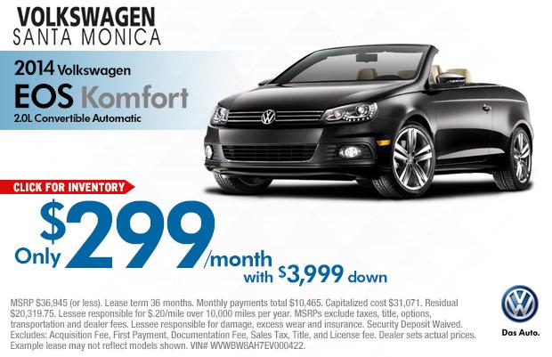 volkswagen eos komfort discount sales lease offers los angeles vehicle sales