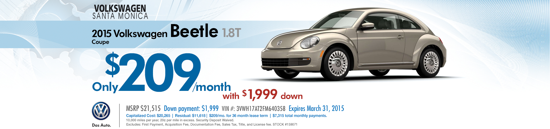 New 2015 VW Beetle 1.8T Coupe Low Payment Lease Special serving Santa Monica, California