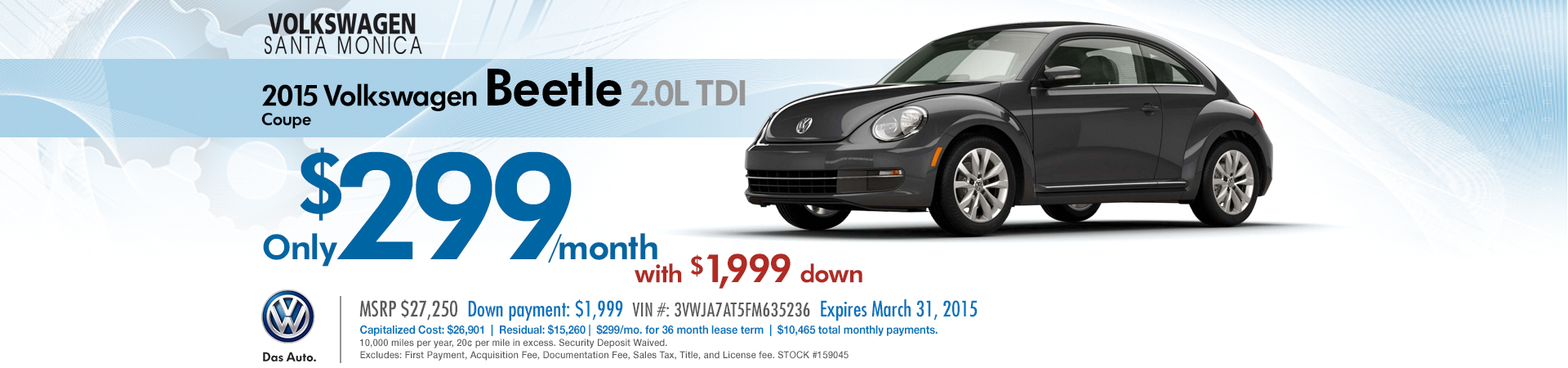 Santa Monica New 2015 VW Beetle 2.0L TDI Special Discount Lease Offer serving the greater Los Angeles Area!