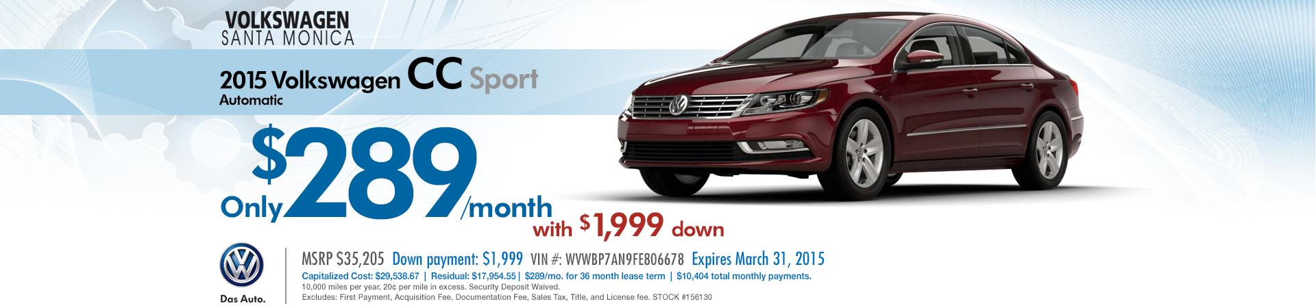 Save with this 2015 Volkswagen CC Sport Lease Offer available at VW Santa Monica in the Los Angeles Area
