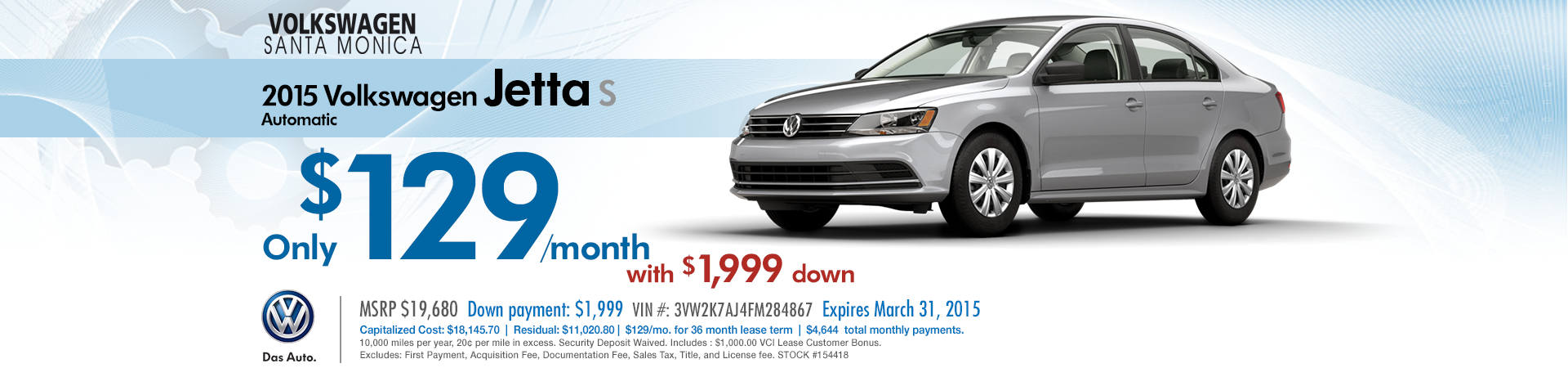 New 2015 VW Jetta S Low Payment Lease Special at Volkswagen Santa Monica serving the Los Angeles Area