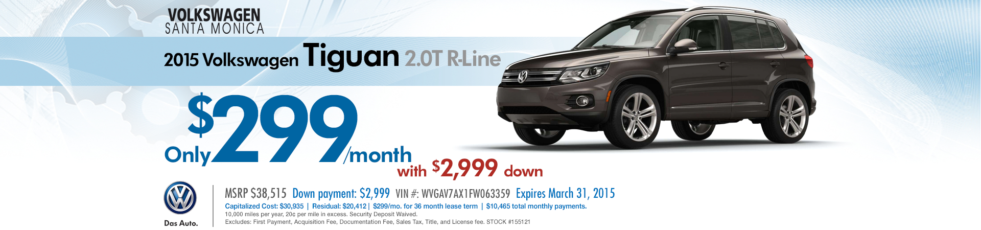New 2015 VW Tiguan 2.0T R-Line Low Payment Special Lease Offer near Los Angeles, CA