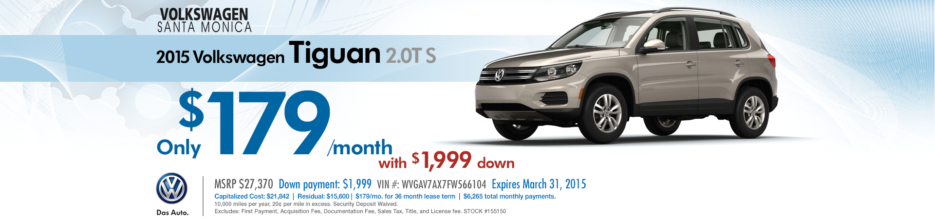 Volkswagen Santa Monica New 2015 Tiguan 2.0T S Discount Lease Special serving Hollywood & Beverly Hills, CA
