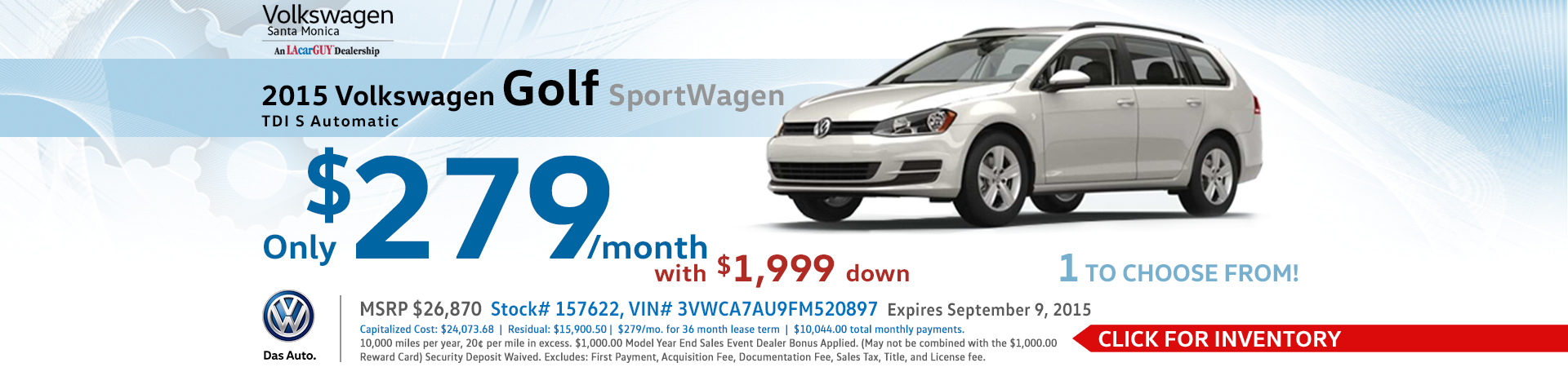 Lease a New 2015 Volkswagen Golf SportWagen at a special low monthly payment at VW Santa Monica