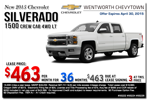 Cost Of A 2015 Lease On Chevy Silverado Autos Post