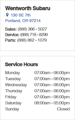 Wentworth Subaru Service Department Hours, Location, Contact Information