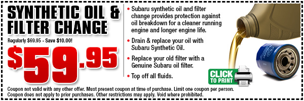 Subaru synthetic oil change wentworth subaru for Synthetic motor oil coupons